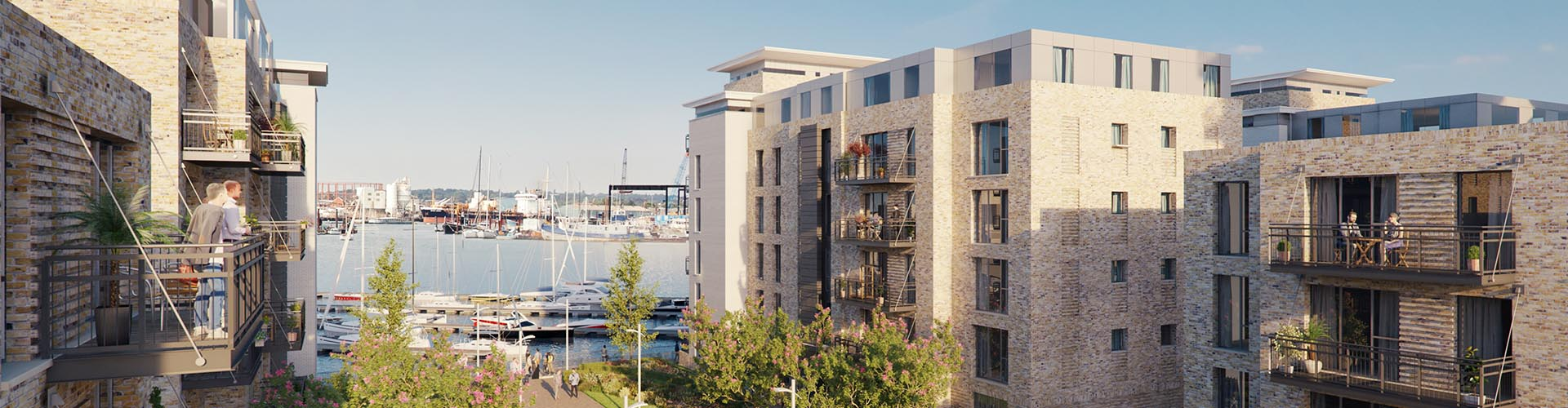 Housing development with harbour view